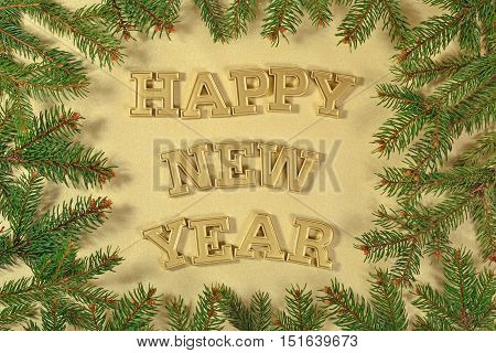 Happy New Year Golden Text And Spruce Branch