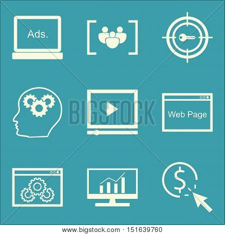 Set Of Seo, Marketing And Advertising Icons On Focus Group, Comprehensive Analytics, Display Adverti