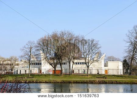 STRASBOURG FRANCE - MAR 20 2016: Great Mosque of Strasbourg on the banks of Ill river on a spring day
