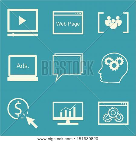 Set Of Seo, Marketing And Advertising Icons On Website Optimization, Creativity, Comprehensive Analy