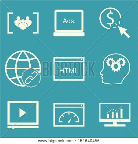 Set Of Seo, Marketing And Advertising Icons On Link Building, Display Advertising, Video Advertising