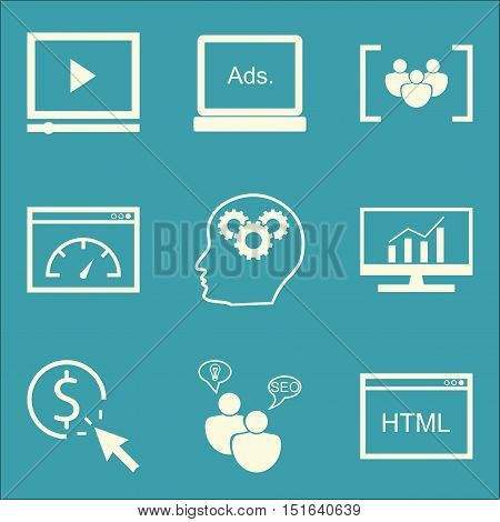 Set Of Seo, Marketing And Advertising Icons On Display Advertising, Creativity, Comprehensive Analyt