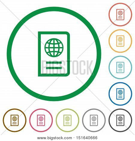 Set of passport color round outlined flat icons on white background