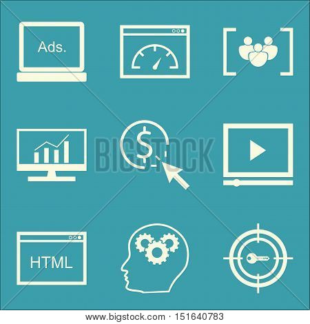 Set Of Seo, Marketing And Advertising Icons On Pay Per Click, Page Speed, Html Code And More. Premiu