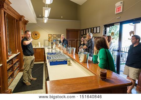 LEXINGTON KY - September 14 2014: Visitor center of Alltech Lexington Brewing and Distilling Company based in Lexington Kentucky USA founded in 1999 by Pearse Lyons the president and founder of animal nutrition company Alltech.