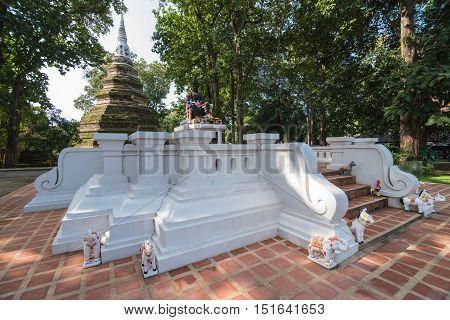 CHIANG RAI THAILAND - OCTOBER 13 2016 - Phra That Chedi Luang is the tallest religious structure in Chiang Raiwhich located in Chiang saen distric.The stupa was erected in circa 1290 by King Saen Phu the 3rd king of the Lanna kingdom.