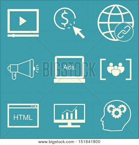 Set Of Seo, Marketing And Advertising Icons On Html Code, Pay Per Click, Creativity And More. Premiu