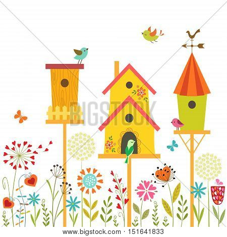 Cute illustration with bird houses hand drawn flowers and place for your text.