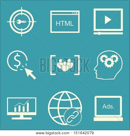 Set Of Seo, Marketing And Advertising Icons On Video Advertising, Display Advertising, Link Building