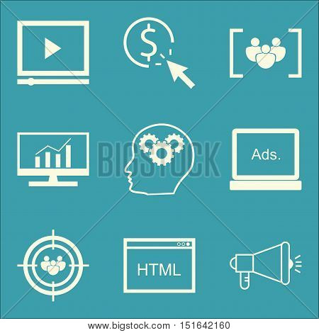 Set Of Seo, Marketing And Advertising Icons On Viral Marketing, Html Code, Focus Group And More. Pre