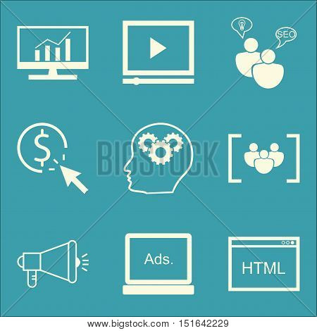 Set Of Seo, Marketing And Advertising Icons On Seo Consulting, Comprehensive Analytics, Display Adve