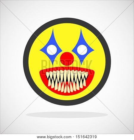 Creepy clown. Evil scary halloween monster, joker character. Isolated vector illustration