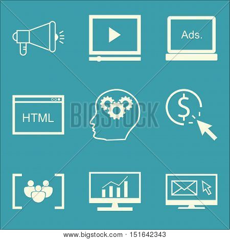Set Of Seo, Marketing And Advertising Icons On Html Code, Focus Group, Creativity And More. Premium
