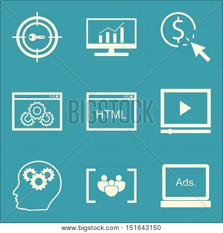 Set Of Seo, Marketing And Advertising Icons On Pay Per Click, Display Advertising, Html Code And Mor
