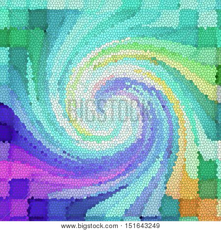 Abstract coloring background of the pastels gradient with visual mosaic, pinch,stained glass and twirl effects