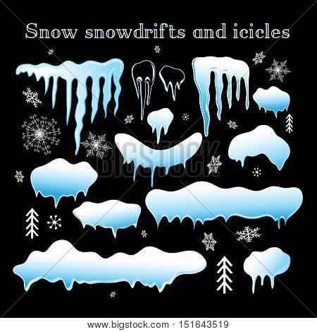 Stock vector illustration. Snow snowdrifts and icicles collection for design.