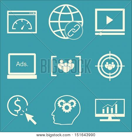 Set Of Seo, Marketing And Advertising Icons On Audience Targeting, Comprehensive Analytics, Page Spe