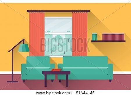 Interior of colorful living room with window. Vector illustration in flat design with long shadows.