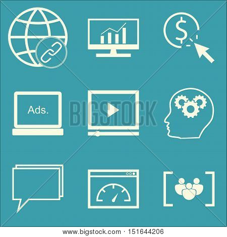 Set Of Seo, Marketing And Advertising Icons On Video Advertising, Page Speed, Display Advertising An