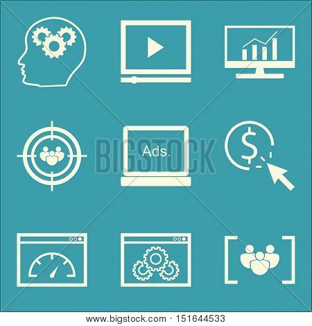 Set Of Seo, Marketing And Advertising Icons On Comprehensive Analytics, Audience Targeting, Page Spe