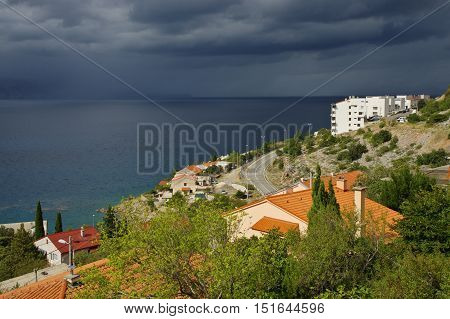 Senj Croatia a small town in northern Croatia located on the Adriatic coast. Storm is coming.