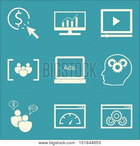 Set Of Seo, Marketing And Advertising Icons On Comprehensive Analytics, Focus Group, Page Speed And