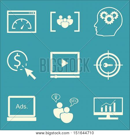 Set Of Seo, Marketing And Advertising Icons On Video Advertising, Comprehensive Analytics, Creativit