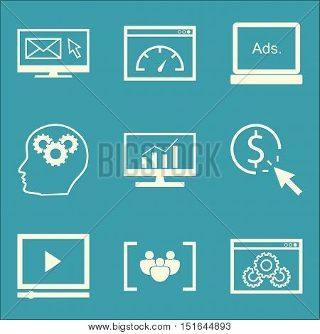 Set Of Seo, Marketing And Advertising Icons On Focus Group, Comprehensive Analytics, Creativity And