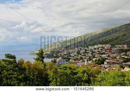 Senj Croatia - a small town in northern Croatia located on the Adriatic coast. The view of the city from the hill on which stands the fortress Nehaj.