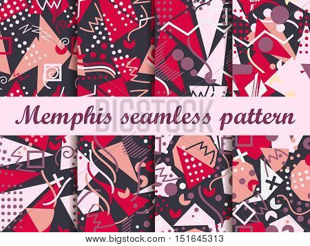 Memphis Seamless Pattern. Geometric Elements Memphis In The Style Of 80's. Vector Illustration.