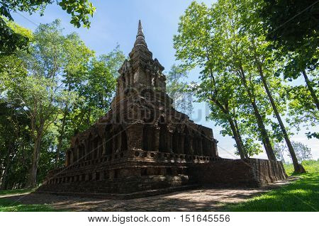 Wat Pa Sak 'The Teak Forest Monastery' Temple in Chiang saenChiang RaiThailandwas built in 12th century.