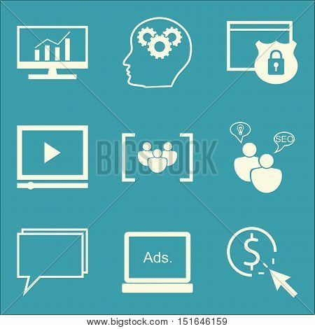 Set Of Seo, Marketing And Advertising Icons On Video Advertising, Display Advertising, Seo Consultin