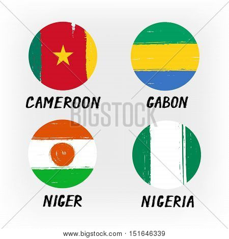 Set Of 4 Flags - Round Icons - Cameroon Gabon Niger Nigeria