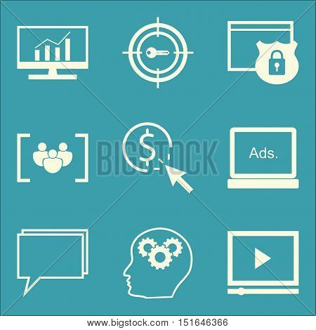Set Of Seo, Marketing And Advertising Icons On Display Advertising, Comprehensive Analytics, Video A