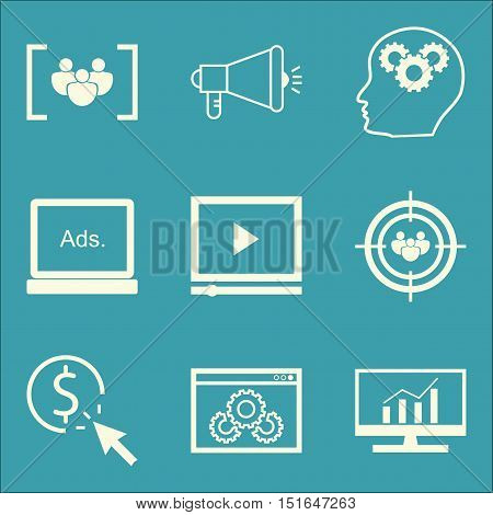 Set Of Seo, Marketing And Advertising Icons On Website Optimization, Focus Group, Comprehensive Anal