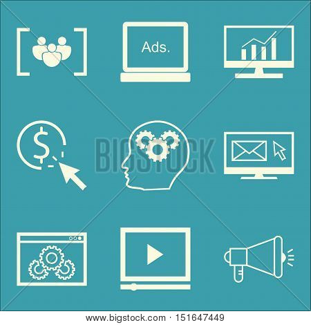 Set Of Seo, Marketing And Advertising Icons On Website Optimization, Comprehensive Analytics, Focus