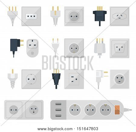 Electric outlet illustration on white background. Energy socket electrical outlets plugs european appliance interior icon. Wire cable cord connection electrical outlets plugs double american.