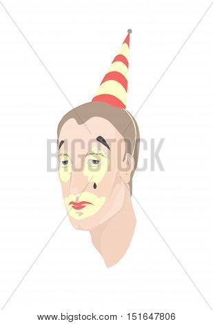 Portrait of a sad tired man with smeared clown makeup . Vector illustration