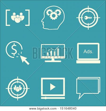 Set Of Seo, Marketing And Advertising Icons On Comprehensive Analytics, Video Advertising, Creativit