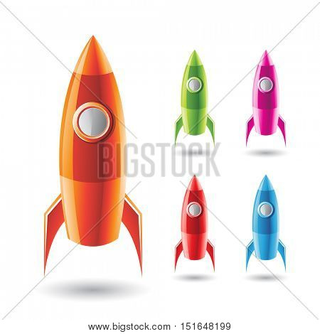 Illustration of Colorful Rockets isolated on a White Background