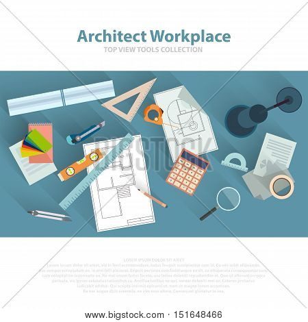 Architects workplace with architectural tools, blueprints, ruler, calculator, divider compass. Construction concept. Engineering studio. Top view flat vector eps 10