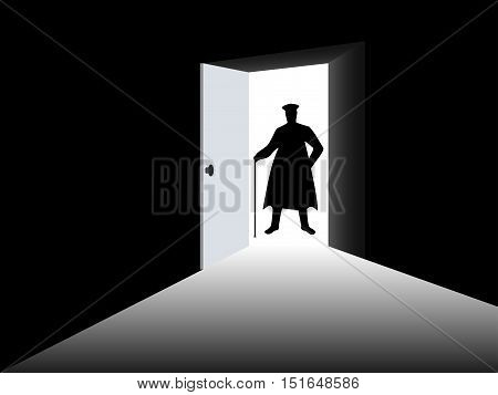 Silhouette of a man in a cloak in the open door. A man with a cane at the entrance to a dark room. Light from the open door. Vector illustration.