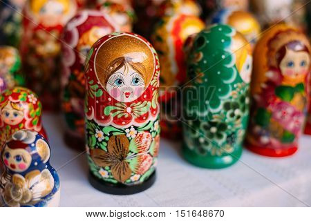 Close View Of The Colorful Matryoshka, The Traditional Russian Nesting Dolls, The Famous Old Wooden Souvenir At The Showcase.