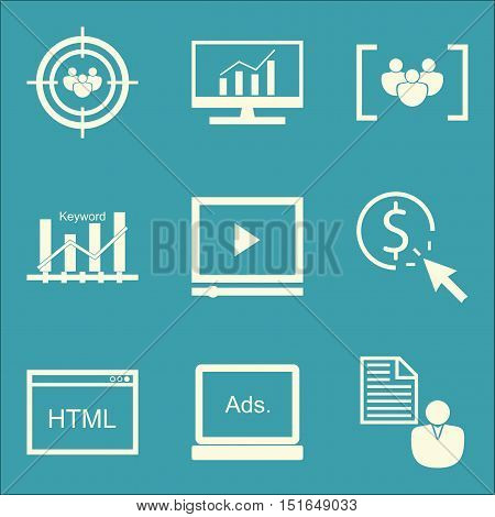 Set Of Seo, Marketing And Advertising Icons On Html Code, Video Advertising, Comprehensive Analytics