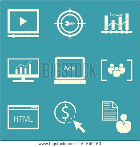 Set Of Seo, Marketing And Advertising Icons On Comprehensive Analytics, Pay Per Click, Target Keywor