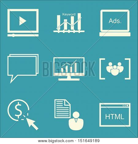 Set Of Seo, Marketing And Advertising Icons On Display Advertising, Html Code, Comprehensive Analyti