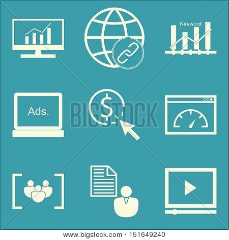 Set Of Seo, Marketing And Advertising Icons On Link Building, Client Brief, Comprehensive Analytics