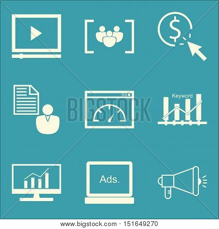 Set Of Seo, Marketing And Advertising Icons On Page Speed, Video Advertising, Display Advertising An