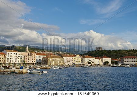 Senj Croatia - September 16 2016: a small town in northern Croatia located on the Adriatic coast. The oldest parts of buildings in the old town come from the fifteenth century. The harbor and the boats, in the background you can see the old city.