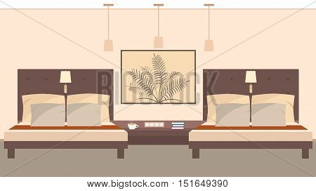 Elegant hotel room interior for two persons including beds lamps bedside table. Vector illustration in flat style